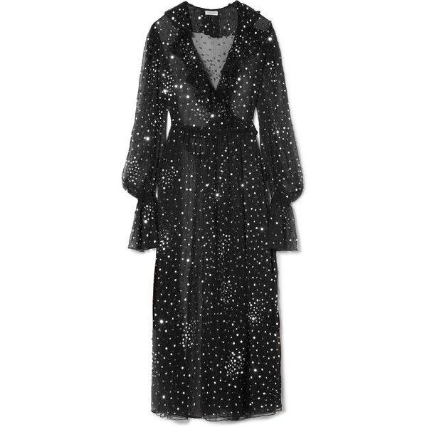 Ruffled Sequined Chiffon Wrap Dress - Black Ashish EpKLhYa