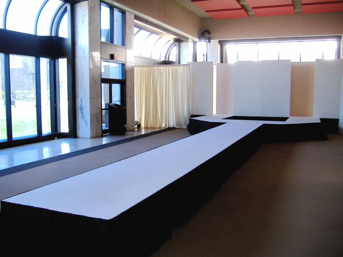 Like this on a larger scale screens where curtains are - Fashion show stage design architecture plans ...