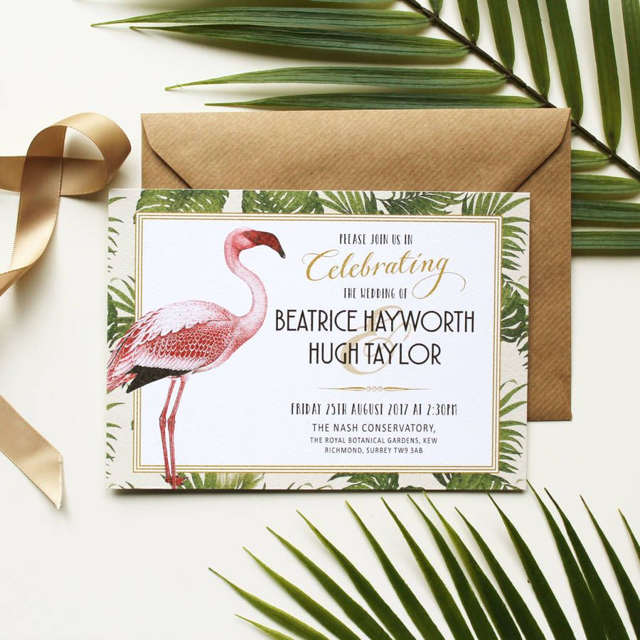 Art deco flamingo wedding invitation