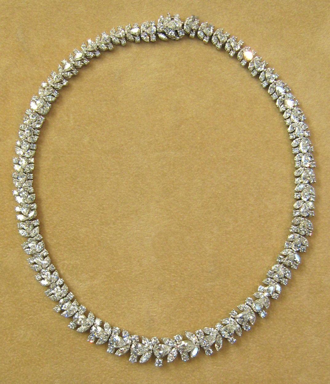 carat diamond platinum necklace vintage harry winston demi