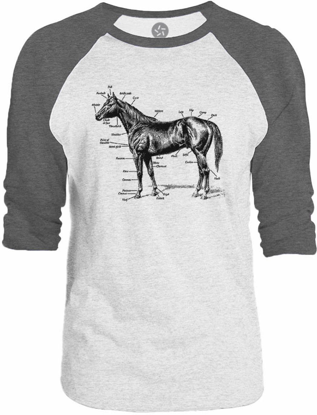 Big Texas Anatomy of a Horse 3/4-Sleeve Raglan Baseball T-Shirt