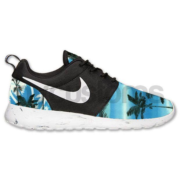 Nike Roshe Run Black White Marble Blue Palm Tree V2 Print