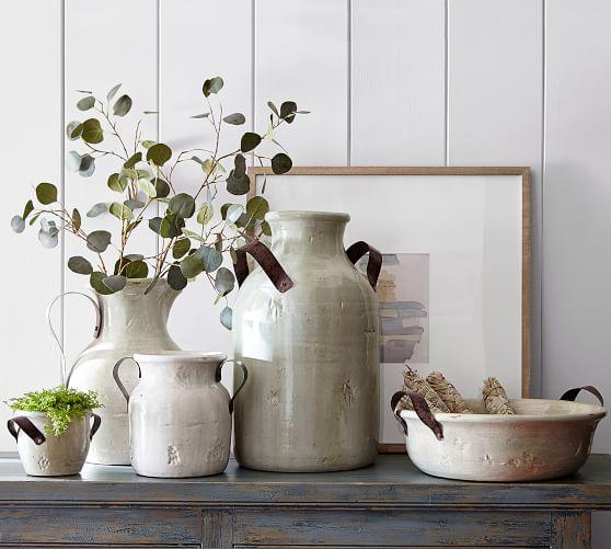 Marlowe Ceramic Vase Collection Blue Vases Decor Farmhouse Vases Decor
