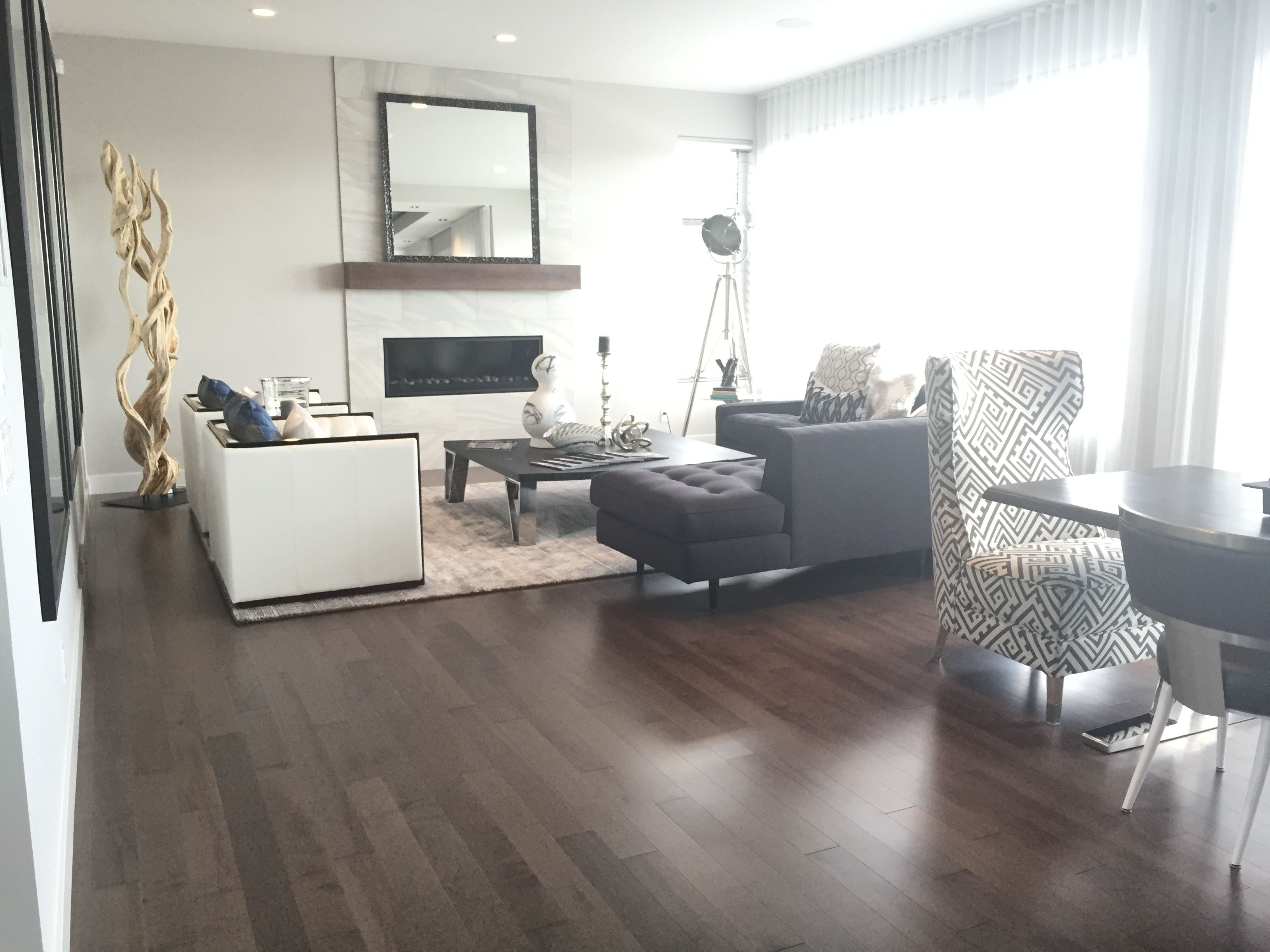 Beautiful Living Room From The Cantata Showhome Featuring Lauzons Smokey Grey Hard Maple Hardwood Flooring