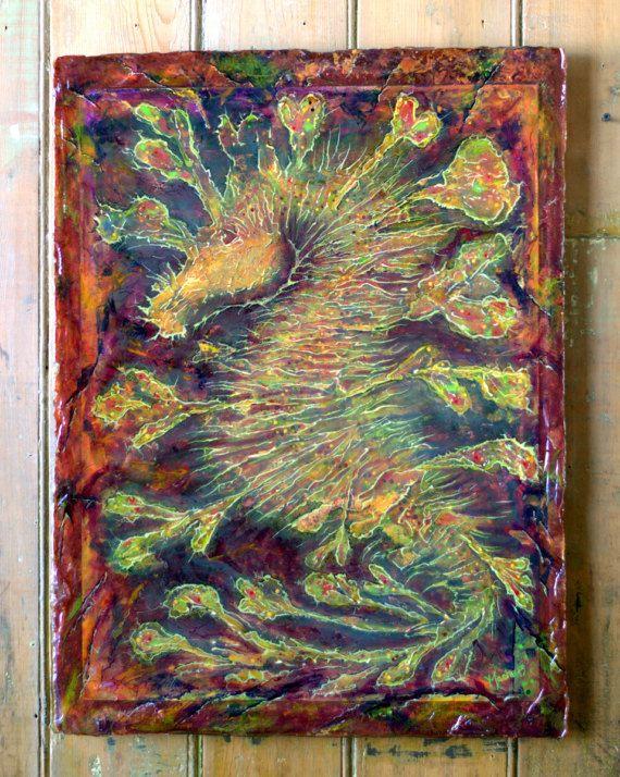 "Tableau Hippocampe Dragon-26""/20""-Oeuvre-Cheval De Mer-Tableau"