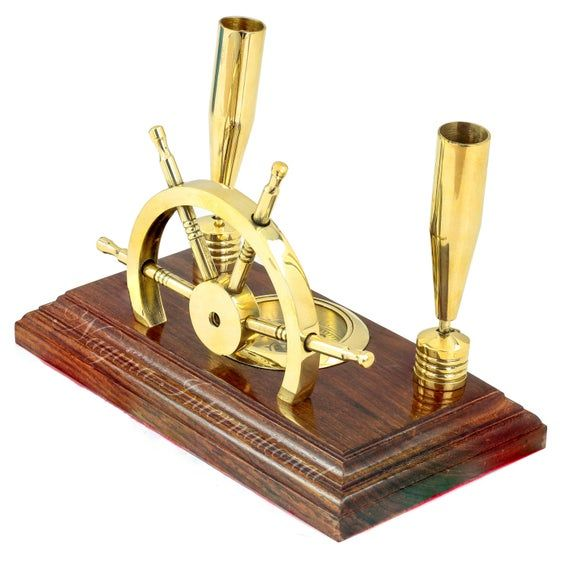 Photo of 7″ Prime Sailor's Nautical Brass Pen Holder with Navigational Compass On Wood Base   Premium Office