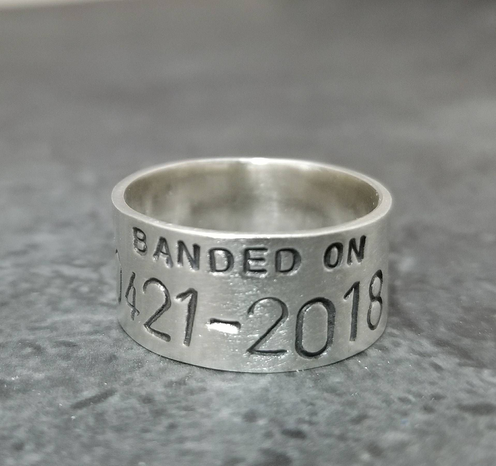Custom Personalized Duck Band Ring Hand Stamped Wedding Ring Etsy In 2020 Duck Band Ring Wedding Rings Unique Duck Band Wedding Ring