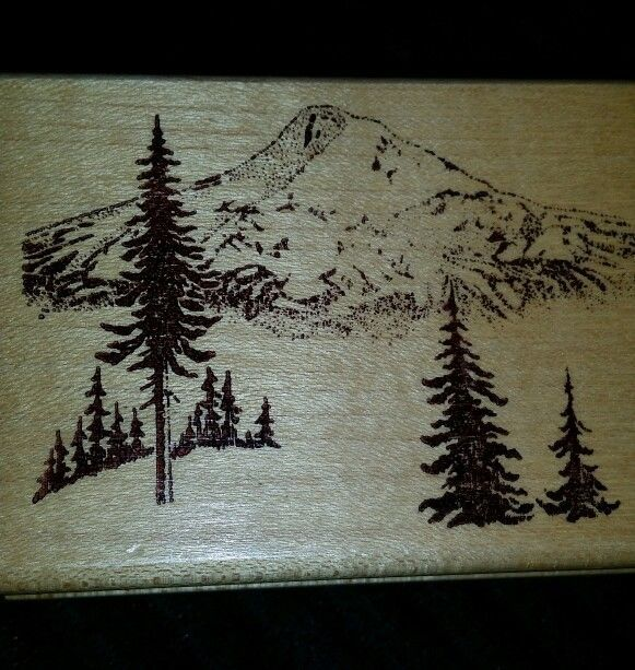 MOUNTAIN PINE TREES RUBBER STAMP EMBOSSING ARTS