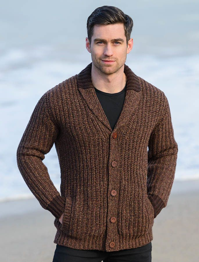 Ribbed Two-Tone Shawl Collar Cardigan - Chestnut | man knitwear ...