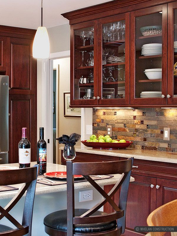 Kitchen Backsplash Cherry Cabinets shaker heights oh kitchen remodel: kraftmaid cherry cabinets, the