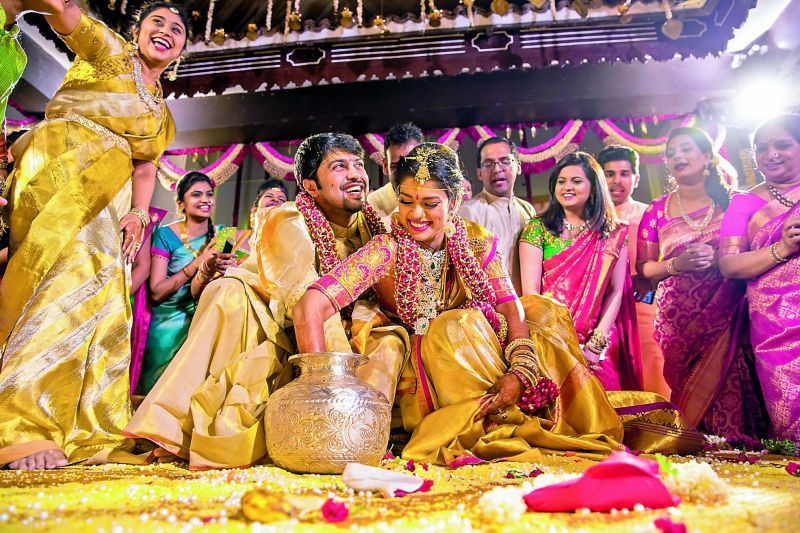Kalyan And Srija Seen Here Were Married In Bengaluru On Monday Night Wedding Trailer Wedding Moments Telugu Wedding