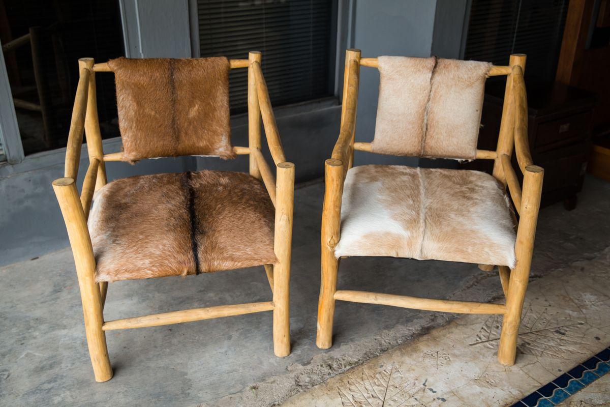 Balinese Furniture. Chunky handmade Goat Skin and Teak Branch Chairs ...