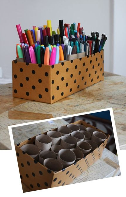 Pencils everywhere... ENOUGH ! Put them in a lovely box ! Easy to make