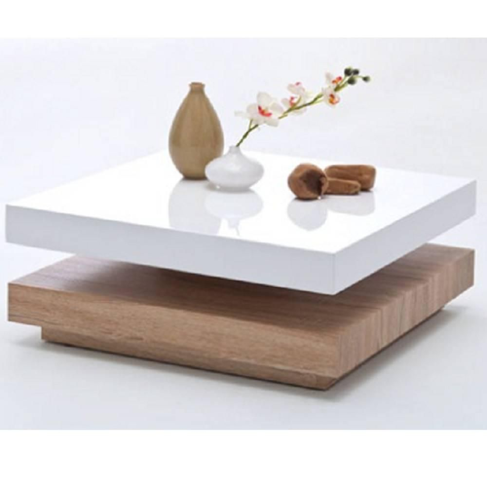 Table Basse Design Hubic Blanche Mate Et Chene Table Basse Blanche Et Bois Table Basse Table De Salon