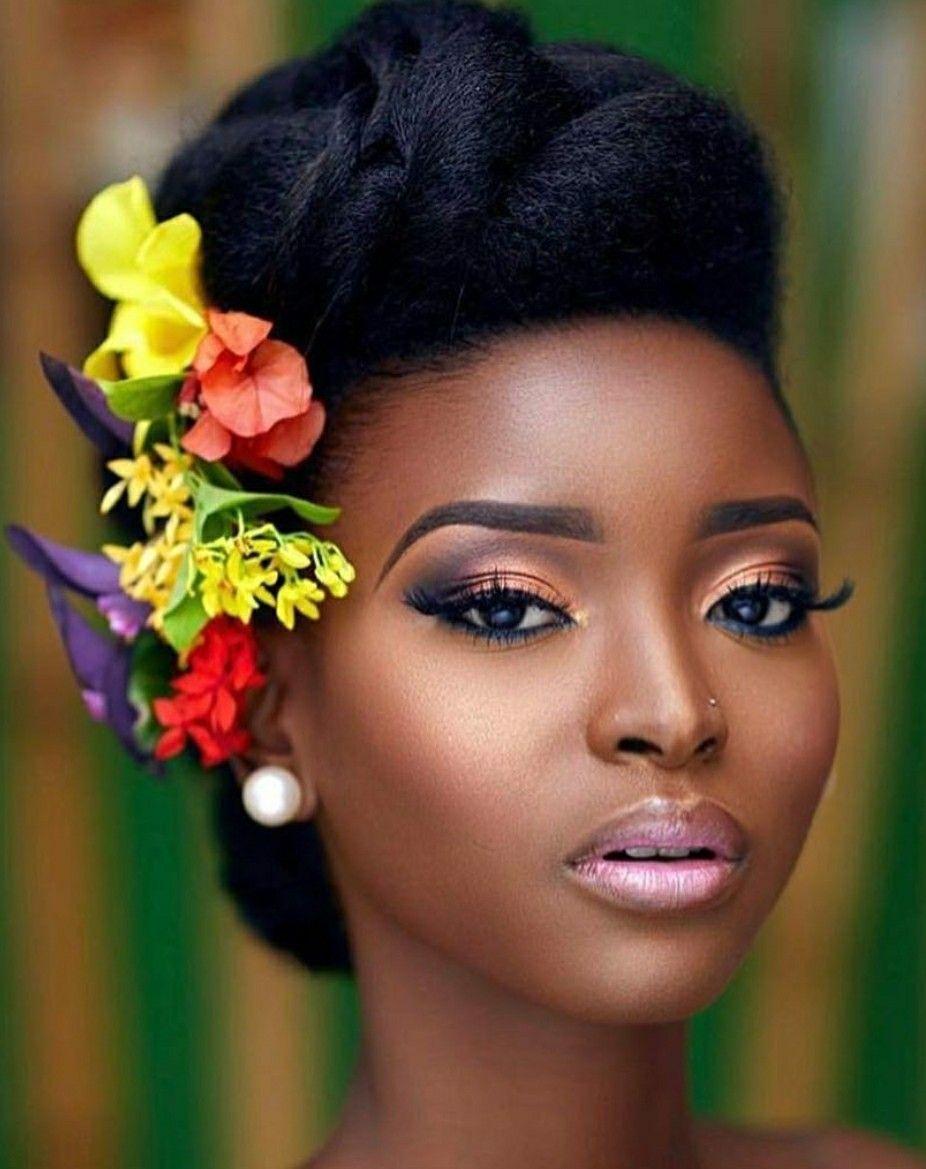 Beautiful black bridal hair and makeup Bridal hair and