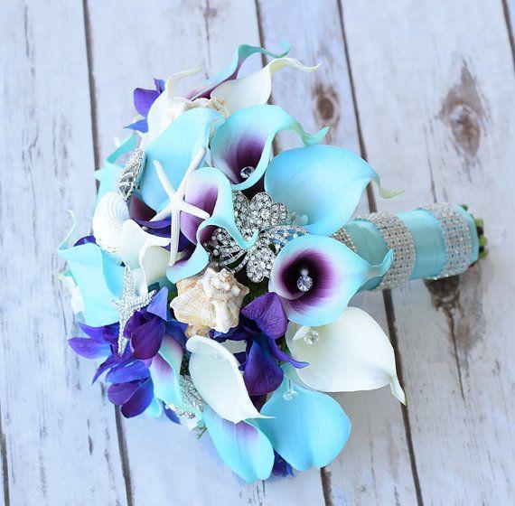 Purple Turquoise Blue Beach Brooch Silk Flower Wedding Bouquet