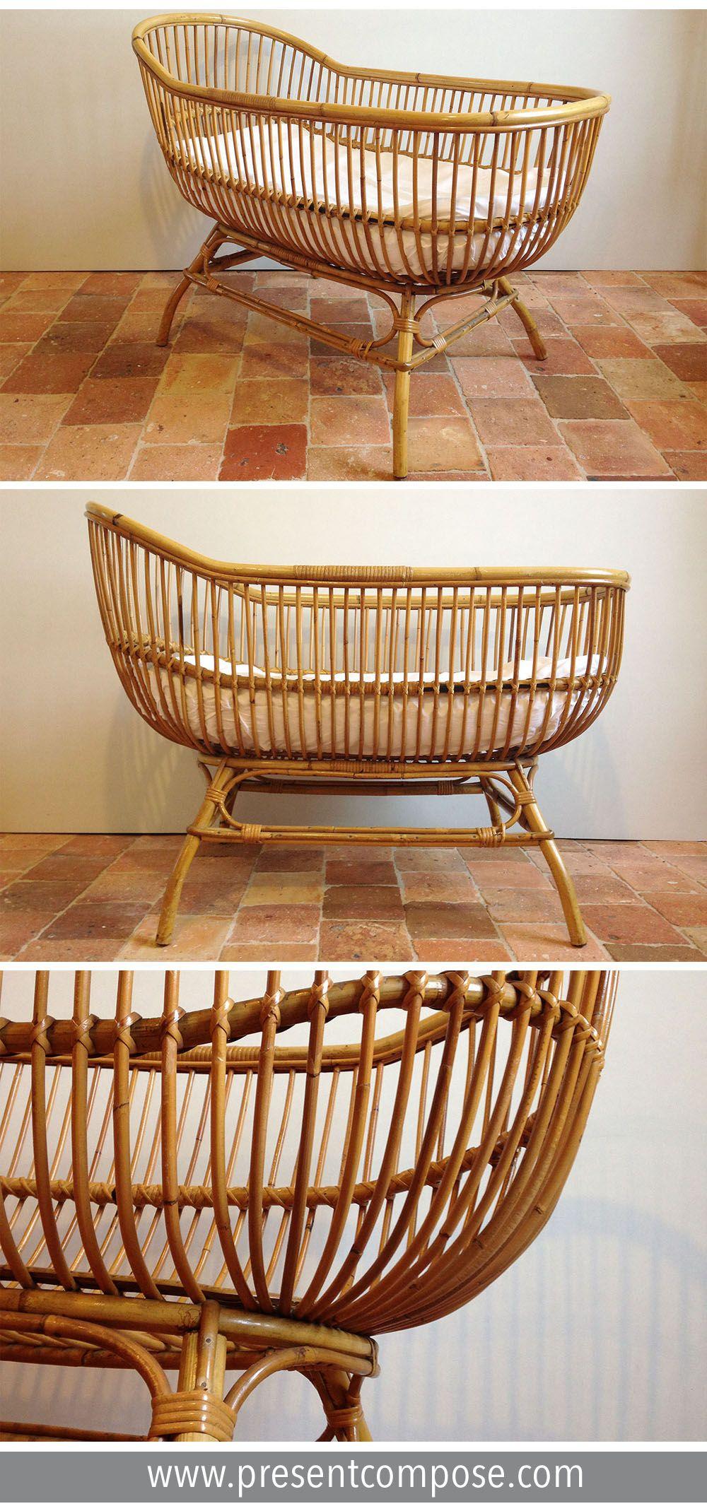 Lit Bebe Corbeille En Rotin Excellent Etat Present Compose Decoration Interieure Meuble Vintage Mobilier De Salon