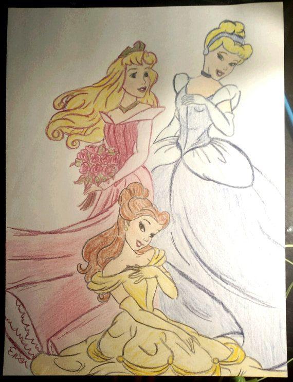 disney princess colored pencil drawings
