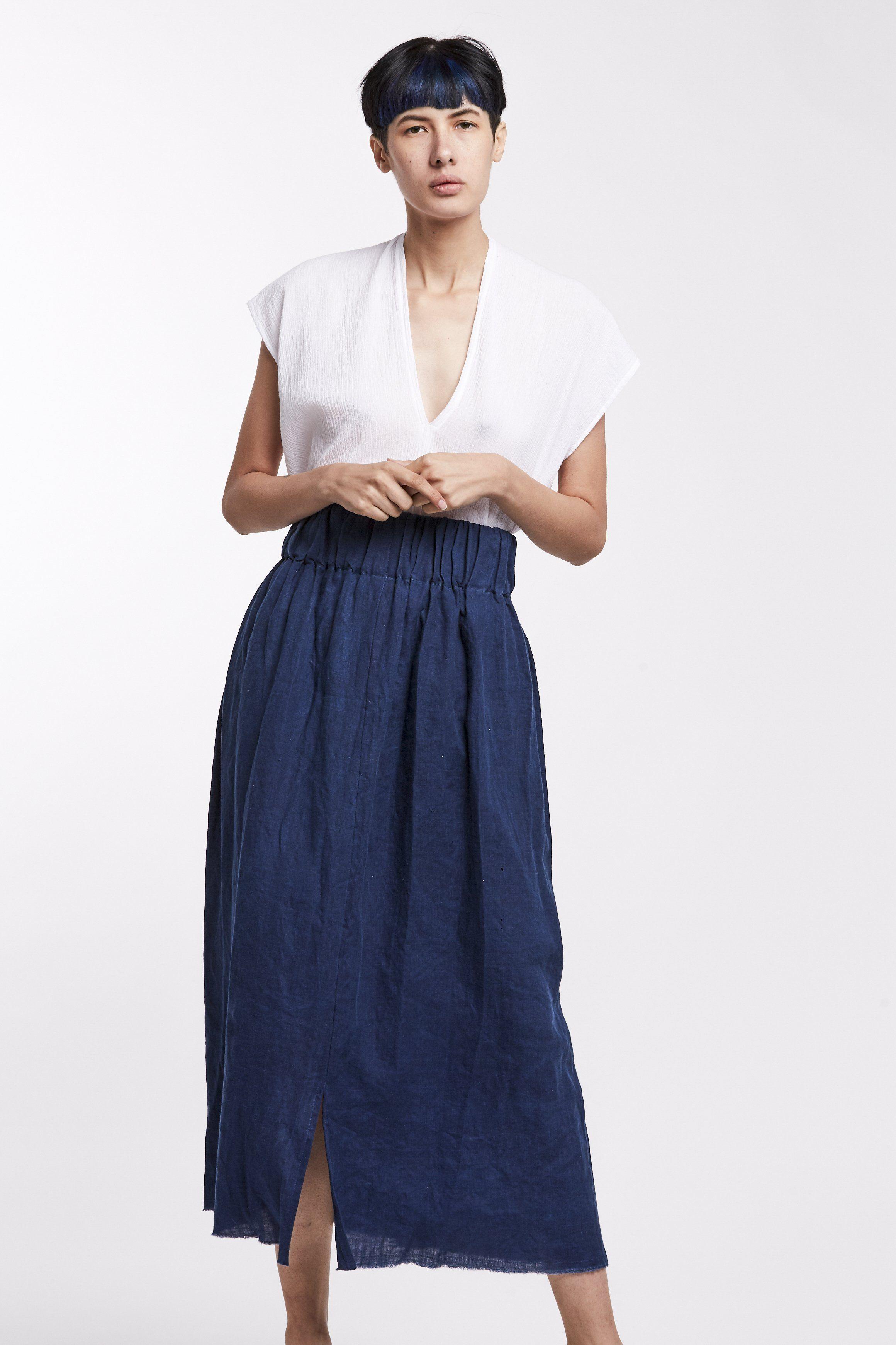 69f448802d Paper Bag Skirt, Linen in Dark Indigo - In-Stock: Ships in 1 to 3 ...