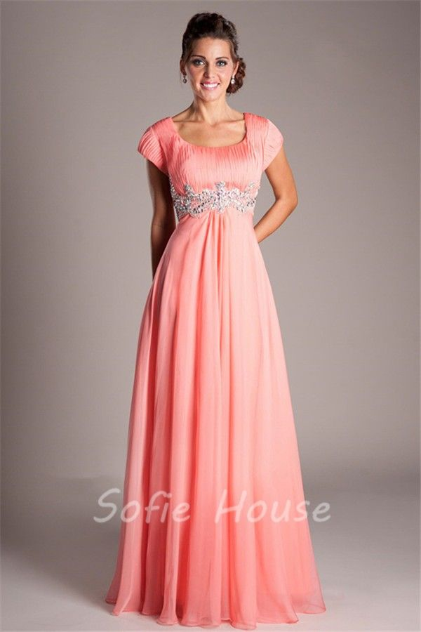 Modest Empire Waist Long Coral Chiffon Beaded Prom Dress With ...