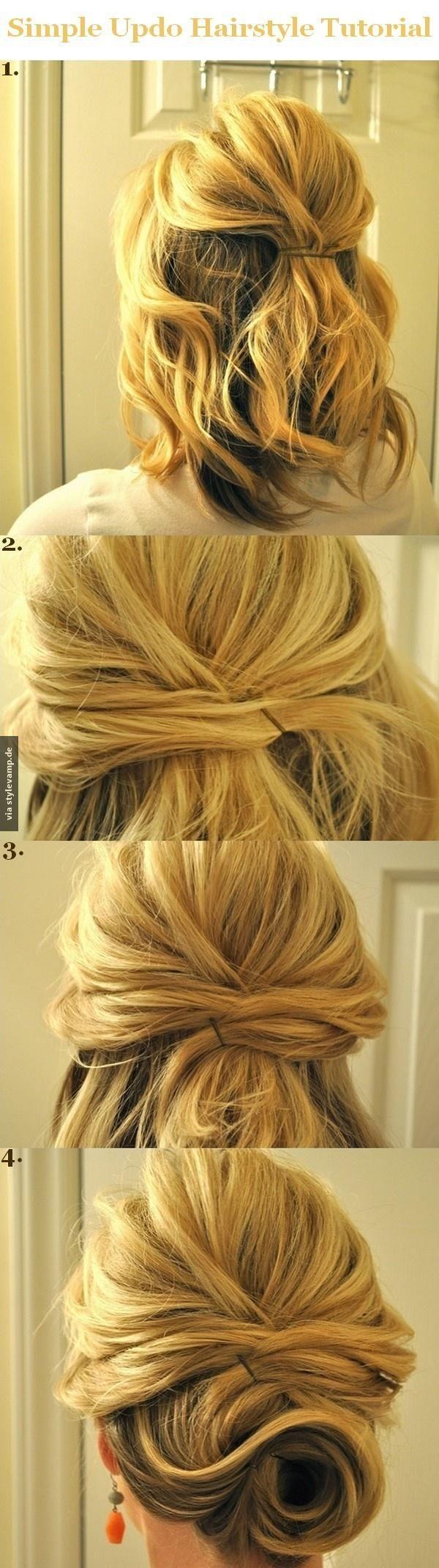 Ein schicker Chignon für halblange Haare   Updo hairstyles ...