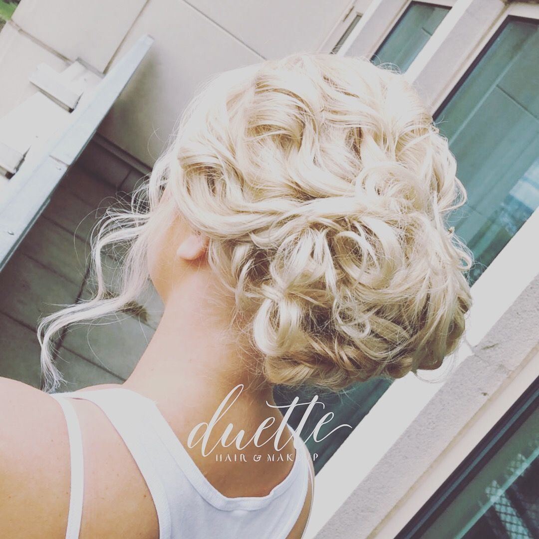 Loose Romantic Bride Hair Blonde Updo Curly Hair Updo