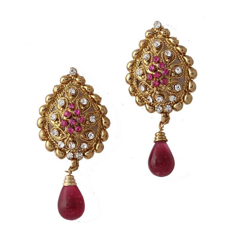 Pink Gold Plated Austrian Diamond Earrings