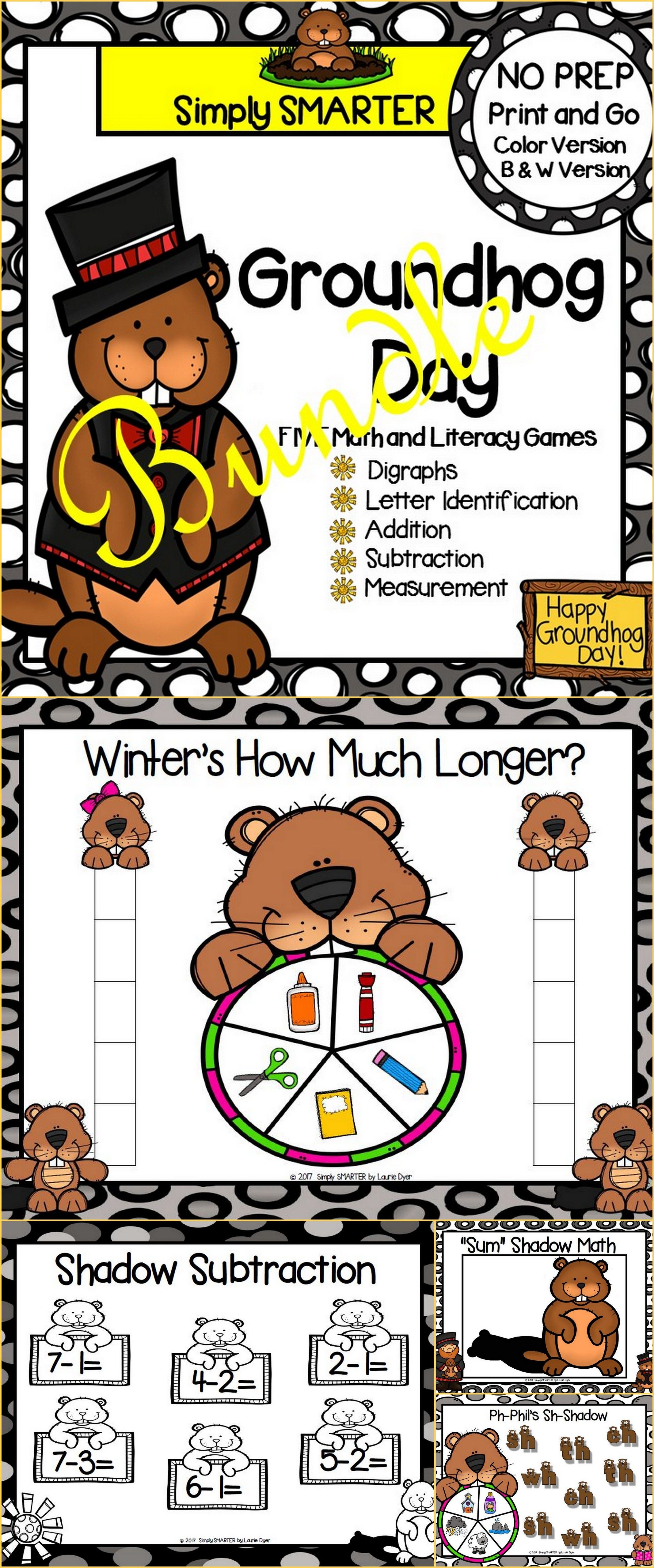 No Prep Groundhog Day Themed Math And Literacy Games