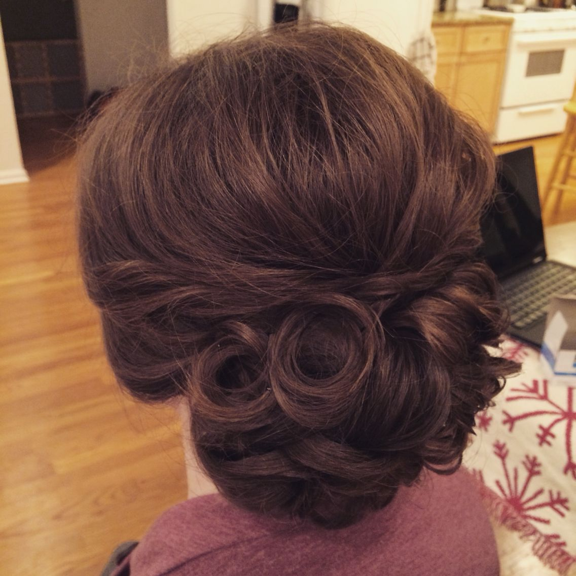 low messy bun. loose curls pinned. low bun. romantic updo. bridal