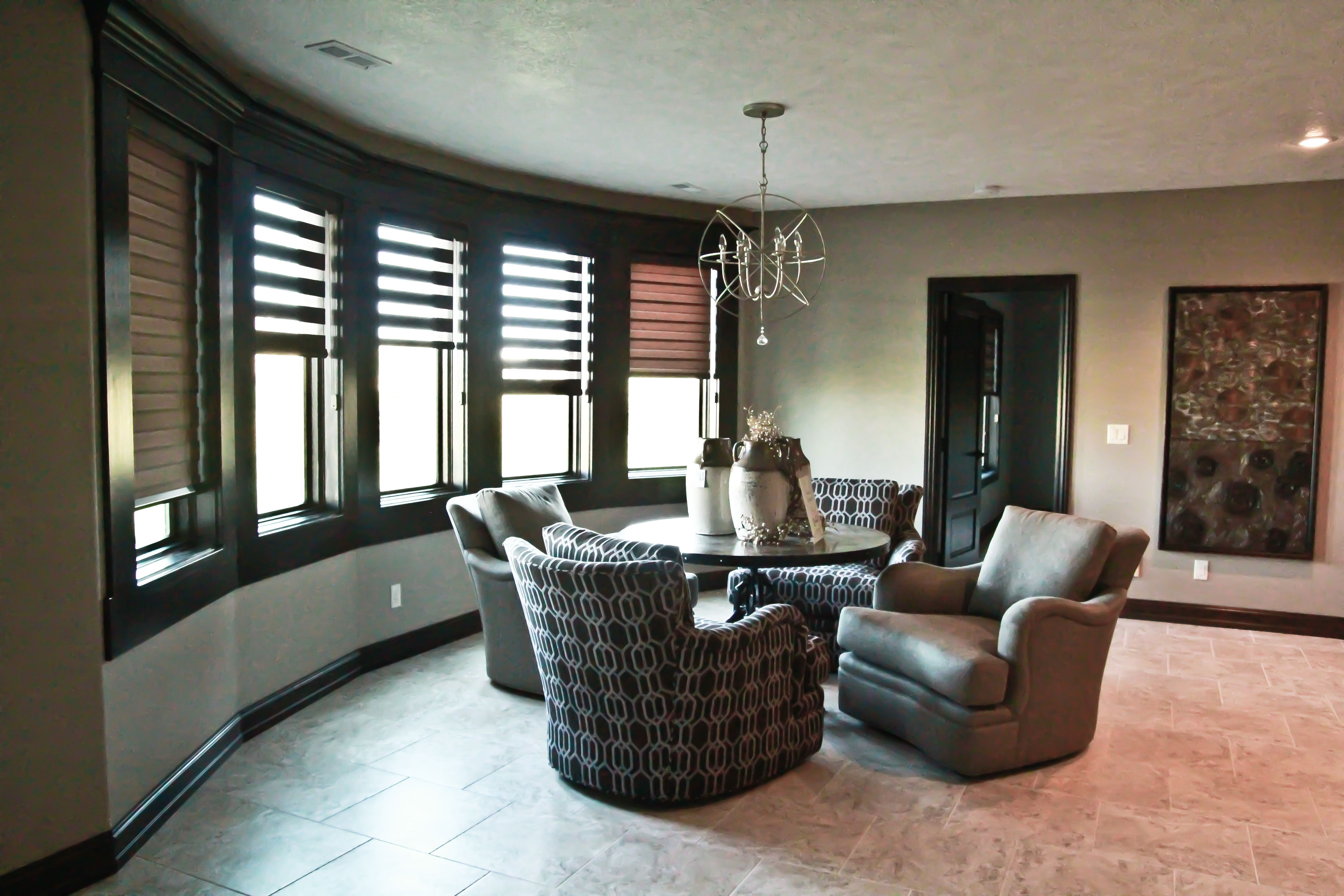 Curved Wall Windows In Curved Wall Wood Windows Wood Blinds In