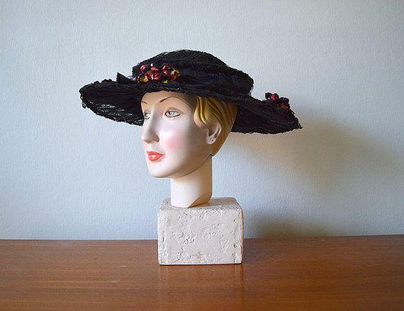 Edwardian hat . vintage 1900s antique wide brim hat by BlueFennel