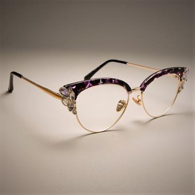 Photo of 45120 HERRLICHE Damen Katzenauge Glänzende Strass Brillen Brillen für Frauen Brillen Optische Brillen