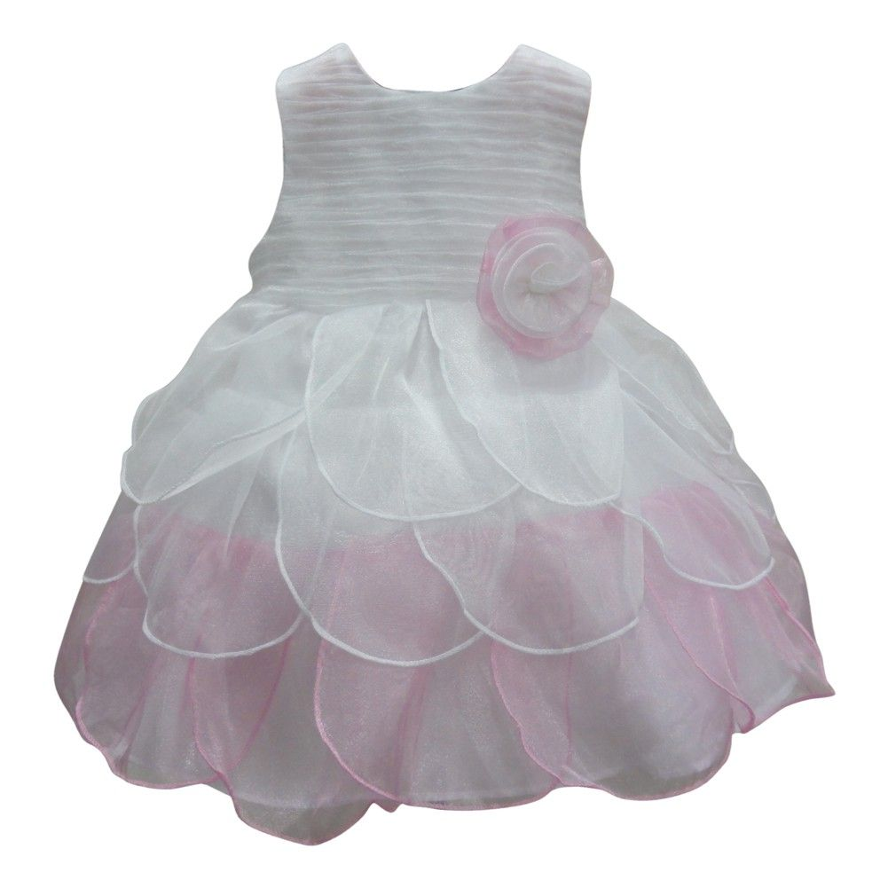 For your free-spirited girl, this dainty dress will surely be a spectacle to any party or occasion. Cute dress bicolored pink and white features a textured sleeveless bodice and a petal multi layered skirt. A cute flowery fabric adornment is attached at t