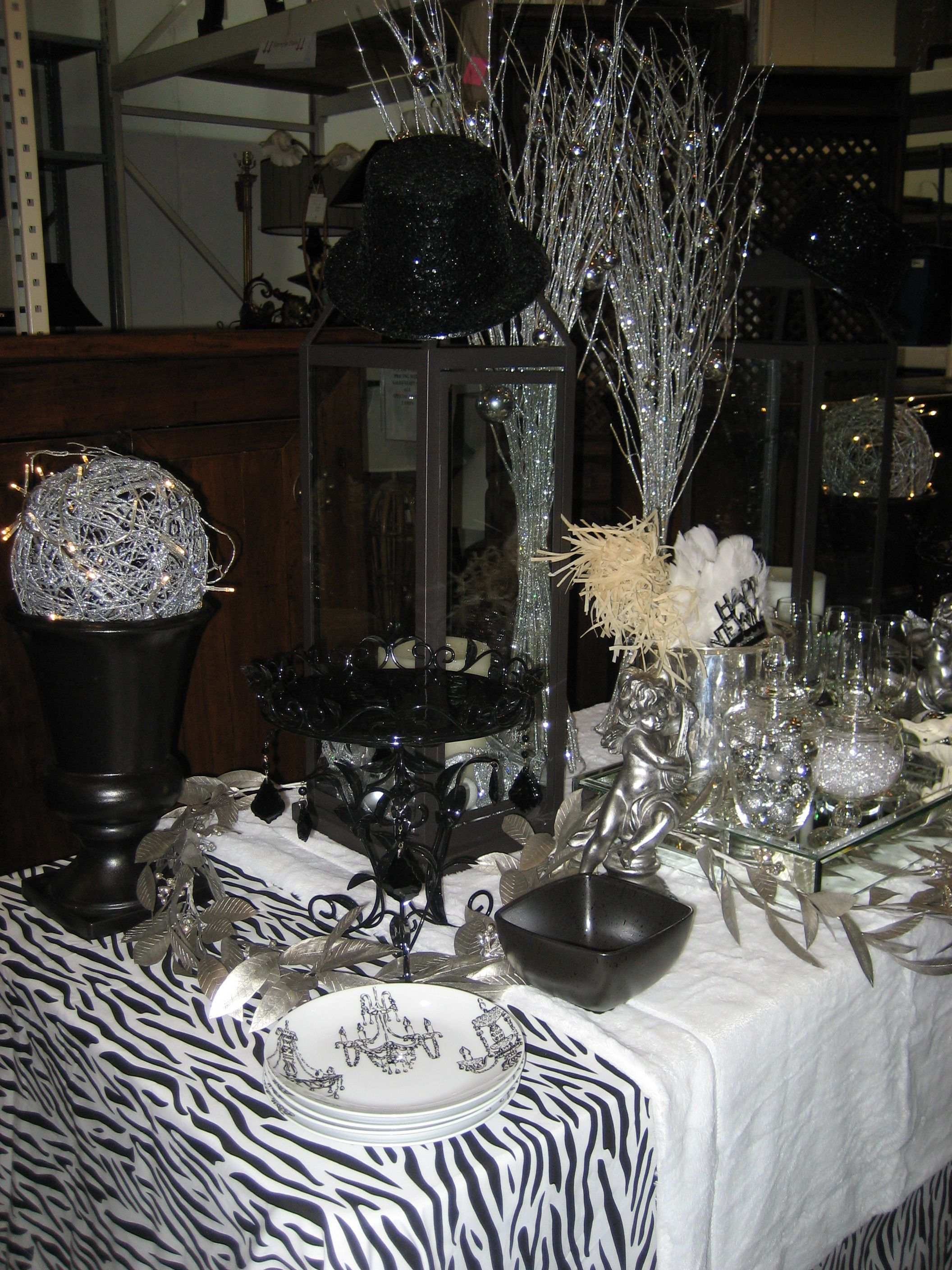 Ring in the new year style top hat centerpieces