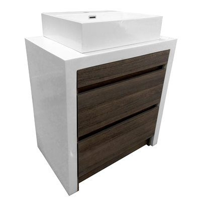 Bestview Oslo 28 In W X 18 In D Vanity Combo With Crushed Marble Top