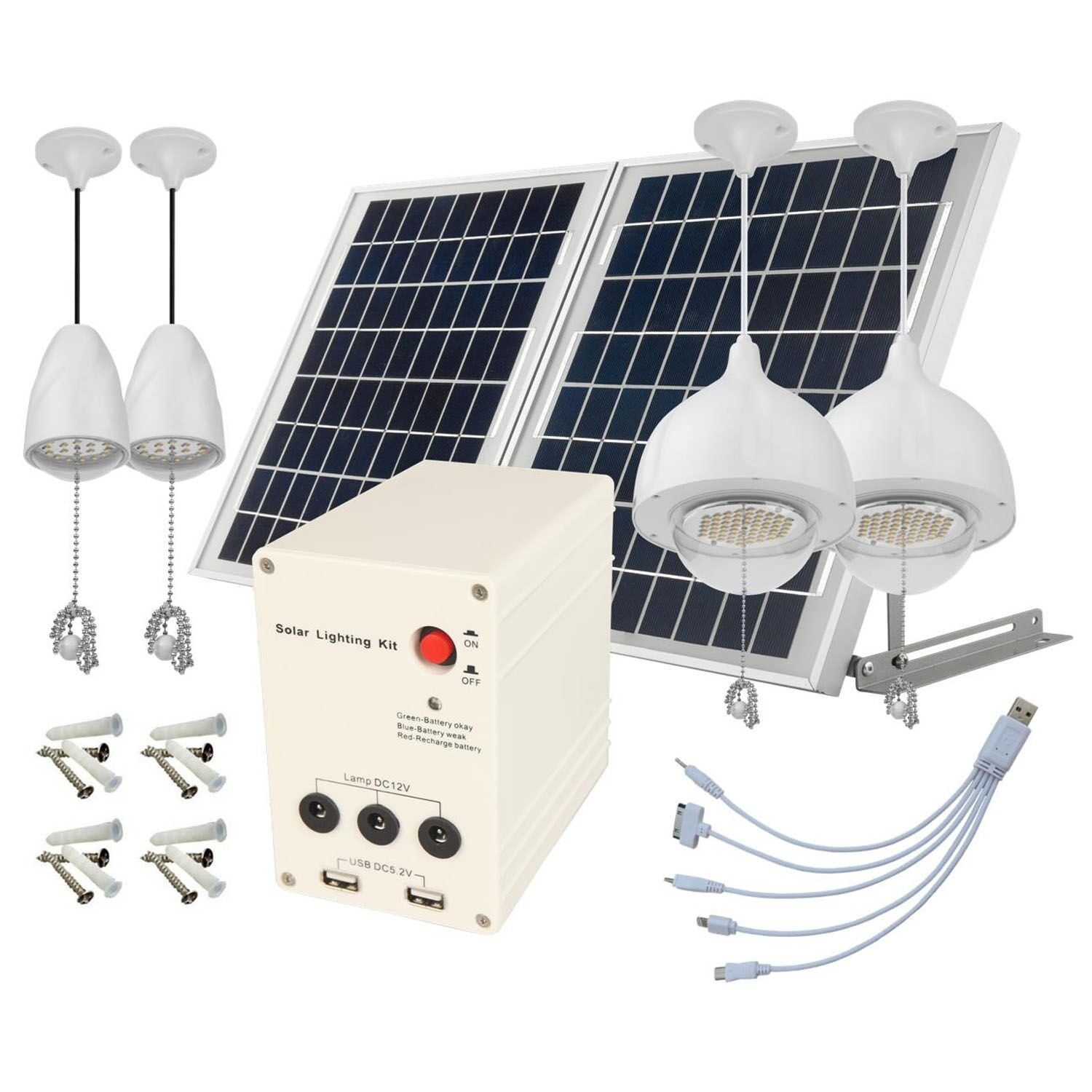 4 Lamps, 25W ALUMINUM Solar Panel, LITHIUM Battery Solar Home System ...