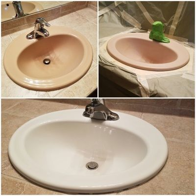 bathroom sink vanity resurfacing by