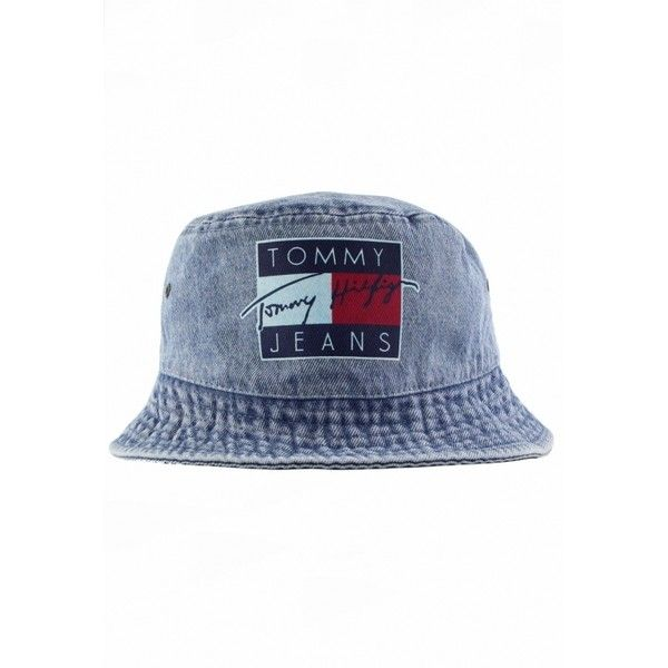 Vintage Tommy Hilfiger Tommy Jeans Bucket Hat ( 24) ❤ liked on Polyvore  featuring accessories 7bfc2f84ef69
