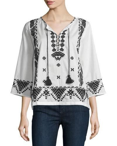 FIGUE JAVANNA 3/4-SLEEVE EMBROIDERED TOP, IVORY. #figue #cloth #