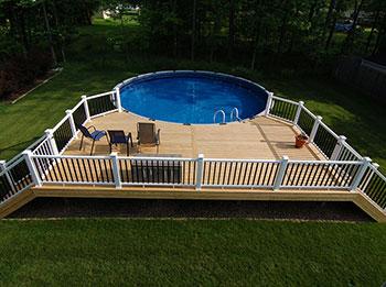 Pool Decks Cleveland Ohio Klassic Custom Decks In 2020 Pool Deck Plans Above Ground Pool Decks Decks Around Pools