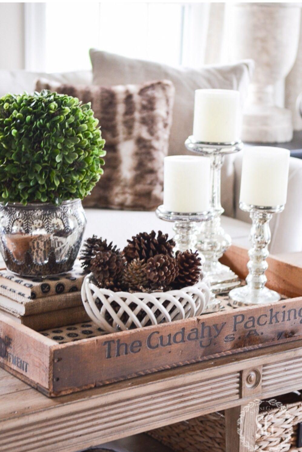 Vingettes Decorating Coffee Tables White Decor Winter Home Decor