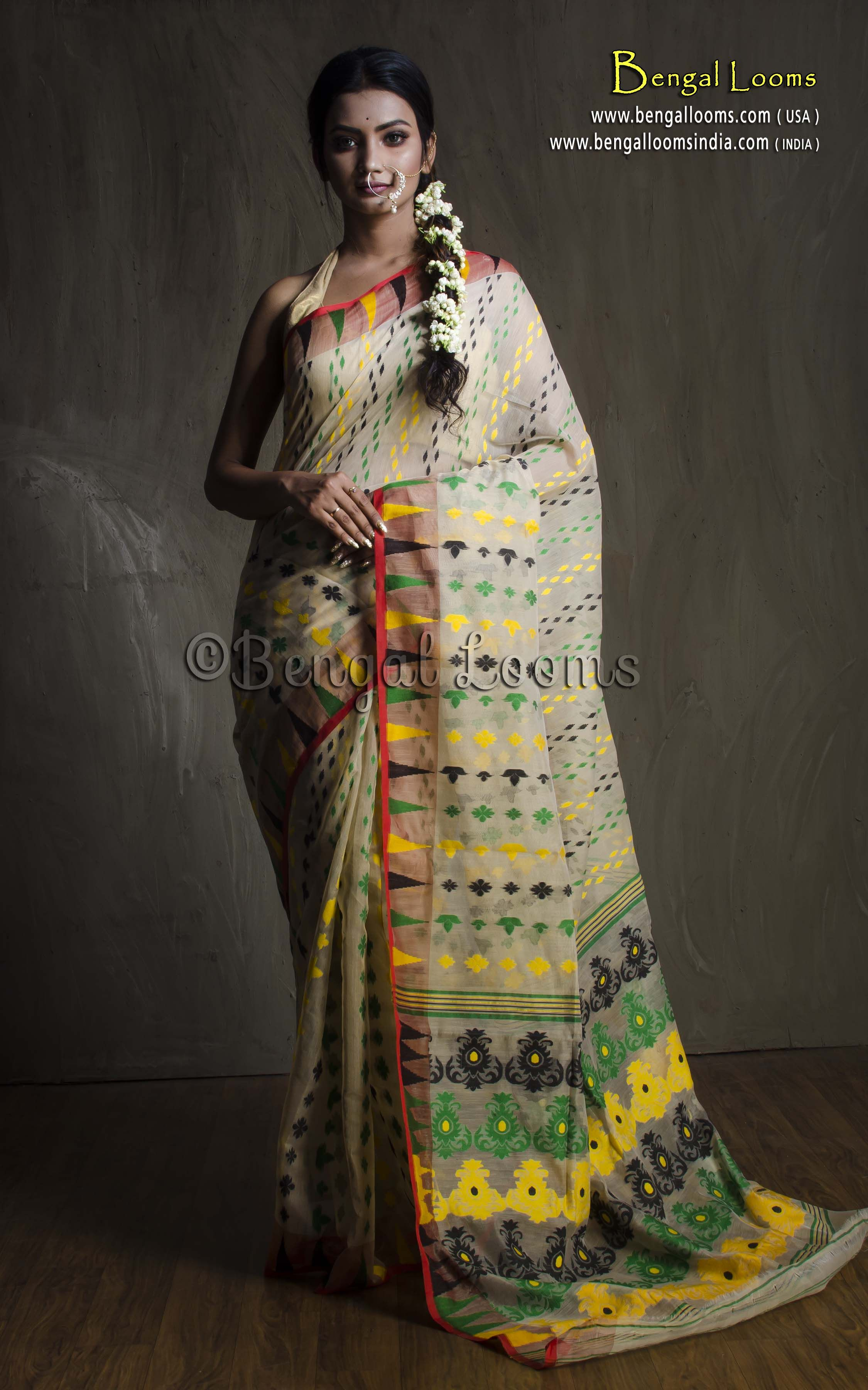 f2e25c19e7 Pure Handloom Dhakai Jamdani Sare in Off White and Multi Color ...