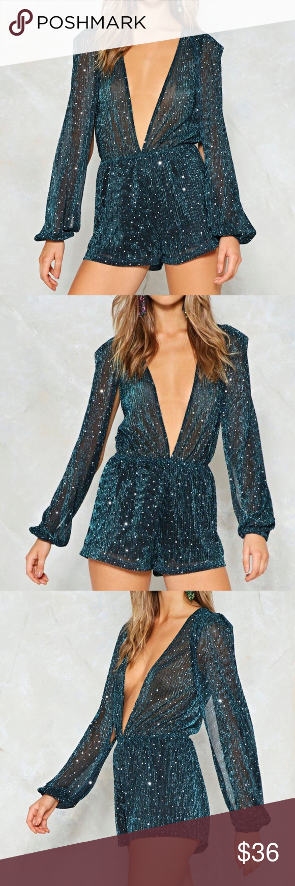 b3ffaf651a9e Boogie Wonderland Metallic Romper Never worn. The Boogie Wonderland Romper  features a semi-sheer