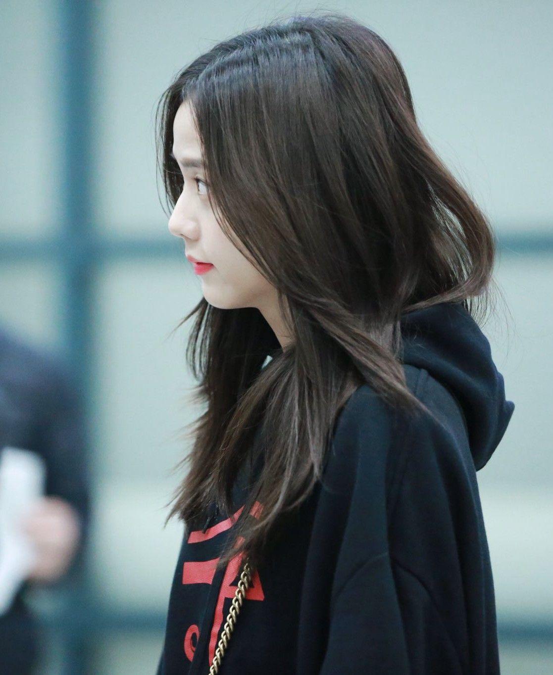 190114 Incheon Airport Jisoo Long Hair Styles Hair Styles Beauty