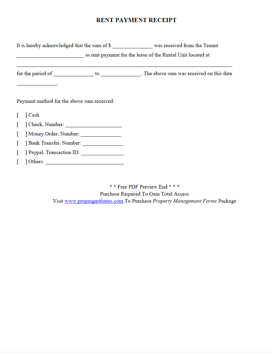 Rent Payment Receipt Pdf Property Management Rental Agreement Templates Management