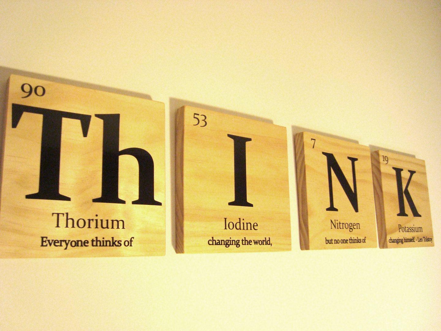 THINK wooden tile wall art- with Leo Tolstoy quote-Periodic table of ...