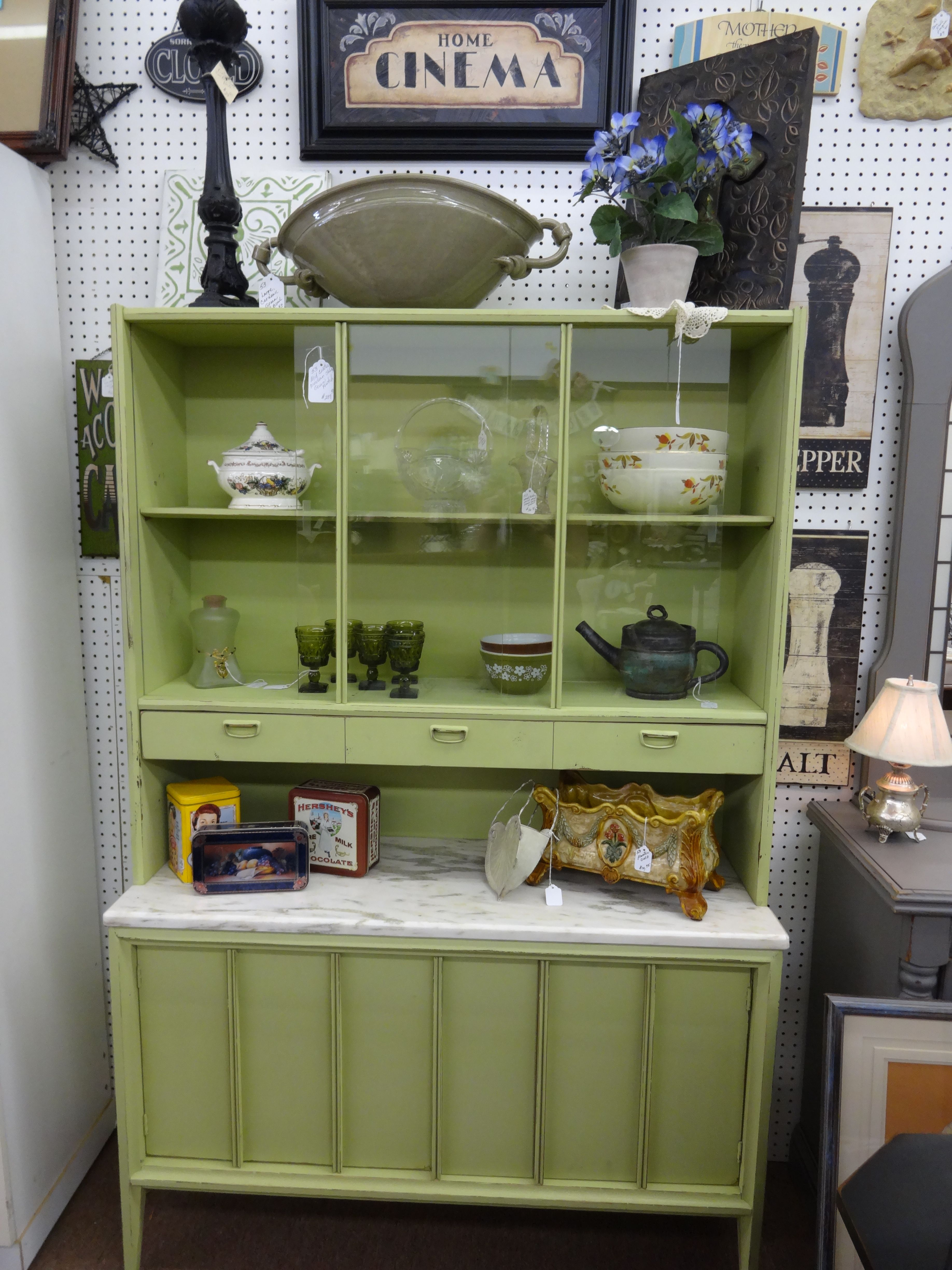 SOLD This Mid Century Modern Hutch with Marble Slab has been