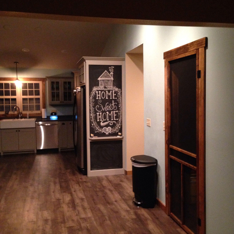 Dark Kitchen Cabinets With Glass Doors: Farmhouse Inspired Custom Kitchen. Grey Cabinets. Black