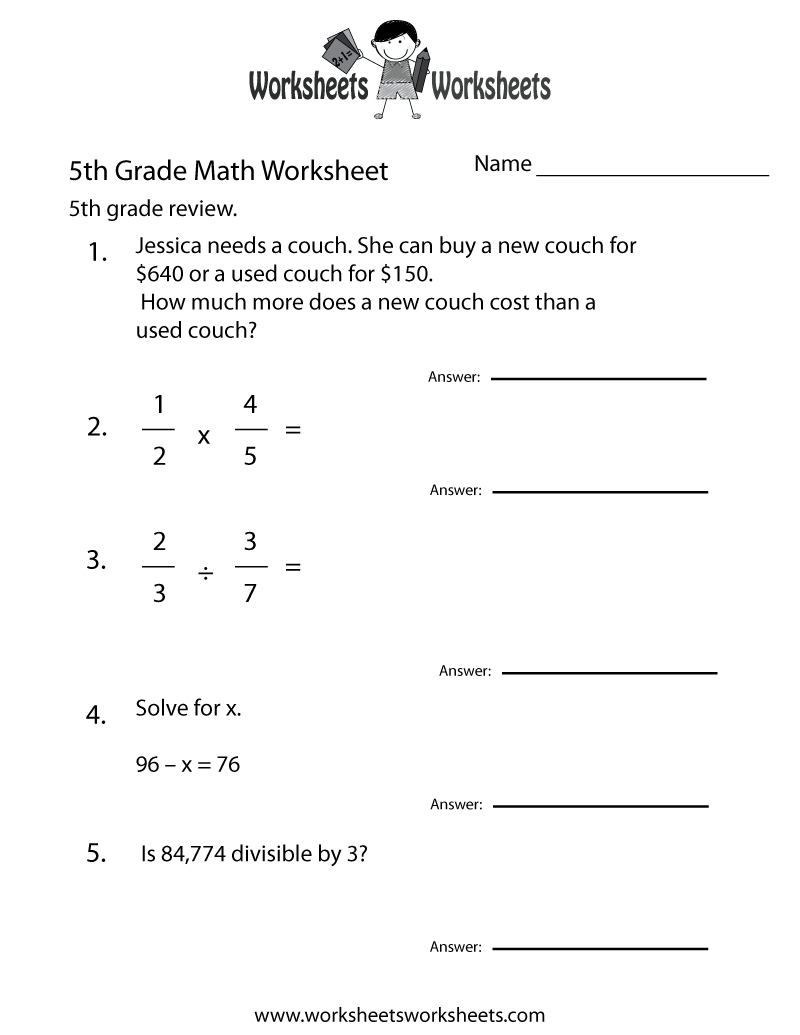 5th grade math worksheet pdf - Bare.bearsbackyard.co