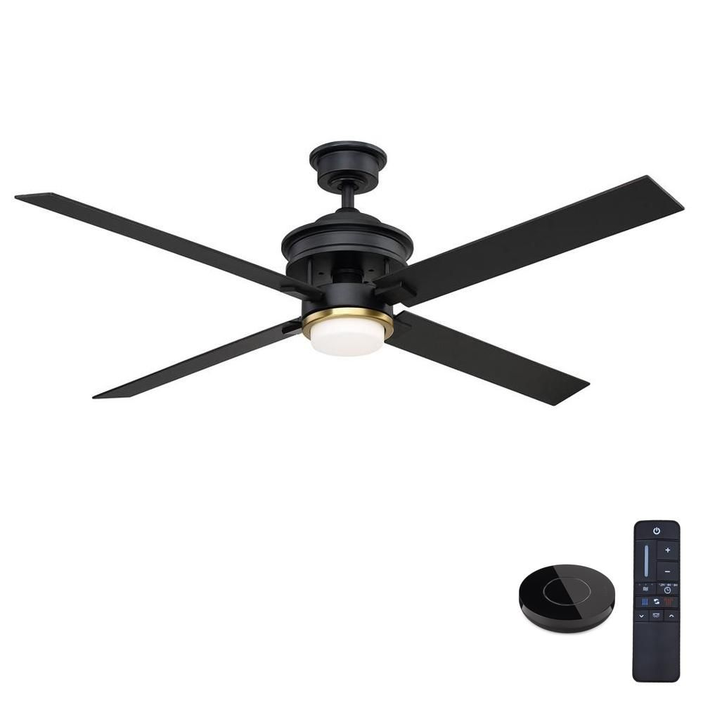 Home Decorators Collection Lincolnshire 60 In Led Matte Black Ceiling Fan With Light And Remote Control Works With Google And Alexa In 2020 Ceiling Fan Black Ceiling Fan Brushed Nickel Ceiling Fan